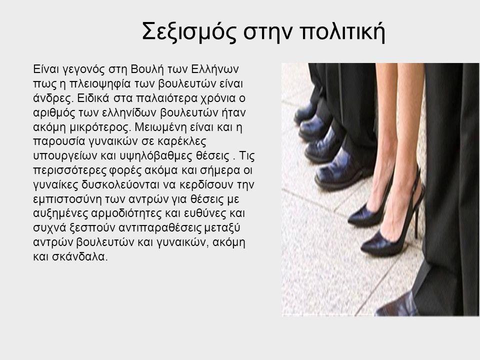 Σεξισμός στην πολιτική Είναι γεγονός στη Βουλή των Ελλήνων πως η πλειοψηφία των βουλευτών είναι άνδρες. Ειδικά στα παλαιότερα χρόνια ο αριθμός των ελλ