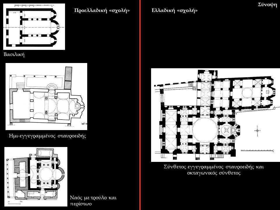 Σύνοψη Βασιλική Ημι-εγγεγραμμένος σταυροειδής Ναός με τρούλο και περίστωο Σύνθετος εγγεγραμμένος σταυροειδής και οκταγωνικός σύνθετος Προελλαδική «σχο