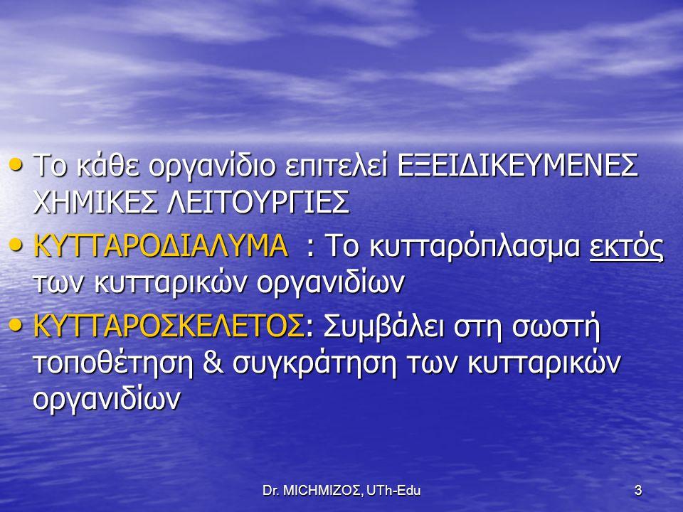 Dr. ΜΙCHΜΙΖΟΣ, UTh-Edu3 Το κάθε οργανίδιο επιτελεί ΕΞΕΙΔΙΚΕΥΜΕΝΕΣ ΧΗΜΙΚΕΣ ΛΕΙΤΟΥΡΓΙΕΣ Το κάθε οργανίδιο επιτελεί ΕΞΕΙΔΙΚΕΥΜΕΝΕΣ ΧΗΜΙΚΕΣ ΛΕΙΤΟΥΡΓΙΕΣ ΚΥ