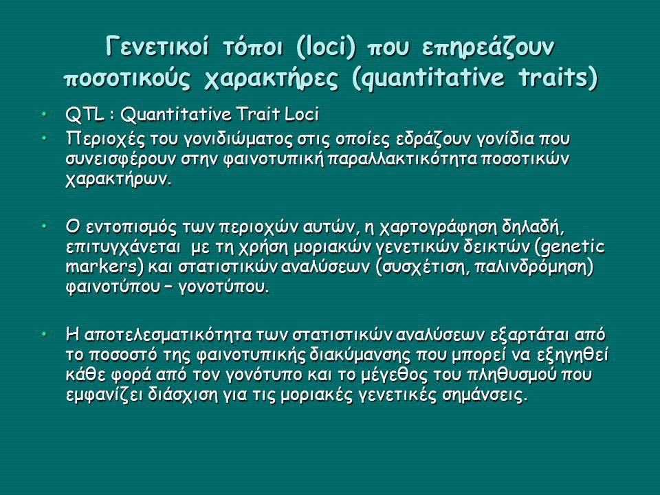 Γενετικοί τόποι (loci) που επηρεάζουν ποσοτικούς χαρακτήρες (quantitative traits) QTL : Quantitative Trait LociQTL : Quantitative Trait Loci Περιοχές του γονιδιώματος στις οποίες εδράζουν γονίδια που συνεισφέρουν στην φαινοτυπική παραλλακτικότητα ποσοτικών χαρακτήρων.Περιοχές του γονιδιώματος στις οποίες εδράζουν γονίδια που συνεισφέρουν στην φαινοτυπική παραλλακτικότητα ποσοτικών χαρακτήρων.
