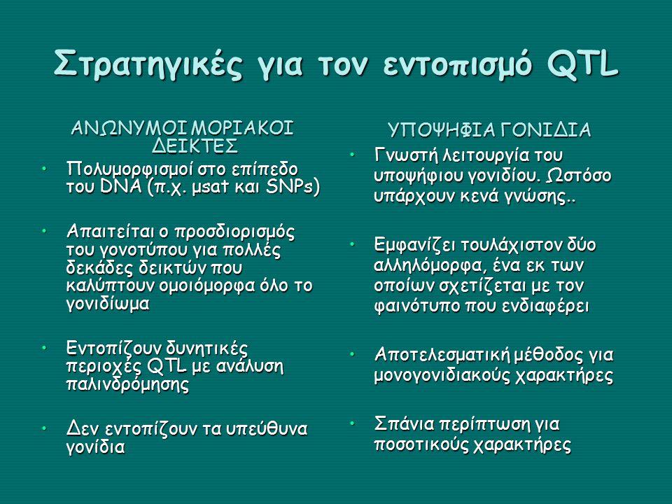 Στρατηγικές για τον εντοπισμό QTL ΑΝΩΝΥΜΟΙ ΜΟΡΙΑΚΟΙ ΔΕΙΚΤΕΣ Πολυμορφισμοί στο επίπεδο του DNA (π.χ.