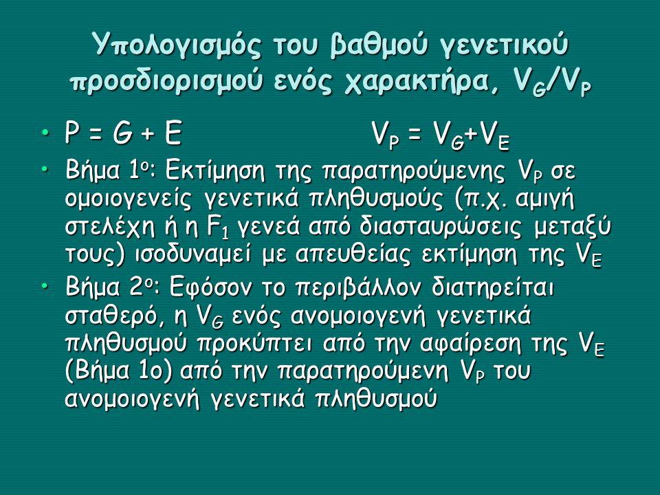 Υπολογισμός του βαθμού γενετικού προσδιορισμού ενός χαρακτήρα, V G /V P P = G + EV P = V G +V EP = G + EV P = V G +V E Βήμα 1 ο : Εκτίμηση της παρατηρούμενης V P σε ομοιογενείς γενετικά πληθυσμούς (π.χ.