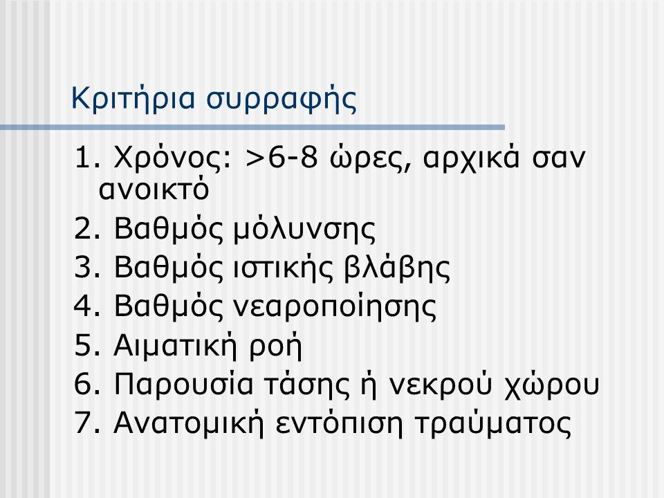 Κριτήρια συρραφής 1. Χρόνος: >6-8 ώρες, αρχικά σαν ανοικτό 2. Βαθμός μόλυνσης 3. Βαθμός ιστικής βλάβης 4. Βαθμός νεαροποίησης 5. Αιματική ροή 6. Παρου