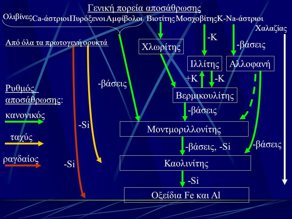 Γενική πορεία αποσάθρωσης Ολιβίνες Μοντμοριλλονίτης Καολινίτης Οξείδια Fe και Al ΠυρόξενοιΑμφίβολοιΜοσχοβίτηςΒιοτίτηςK-Na-άστριοι Χαλαζίας Ιλλίτης Βερ