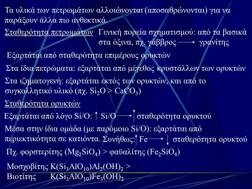 Δευτερογενή ορυκτά: Θειικά και ανθρακικά ορυκτά: πολύ ευδιάλυτα (με Θ > Α) Ακολουθούν τα πυριτικά ορυκτά της αργίλου 1:1 > 2:1 > 2:1:1 Πχ.