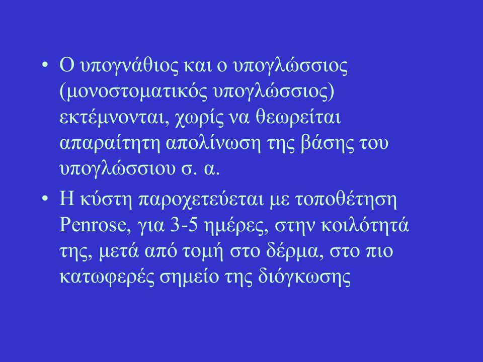 Ο υπογνάθιος και ο υπογλώσσιος (μονοστοματικός υπογλώσσιος) εκτέμνονται, χωρίς να θεωρείται απαραίτητη απολίνωση της βάσης του υπογλώσσιου σ. α. Η κύσ