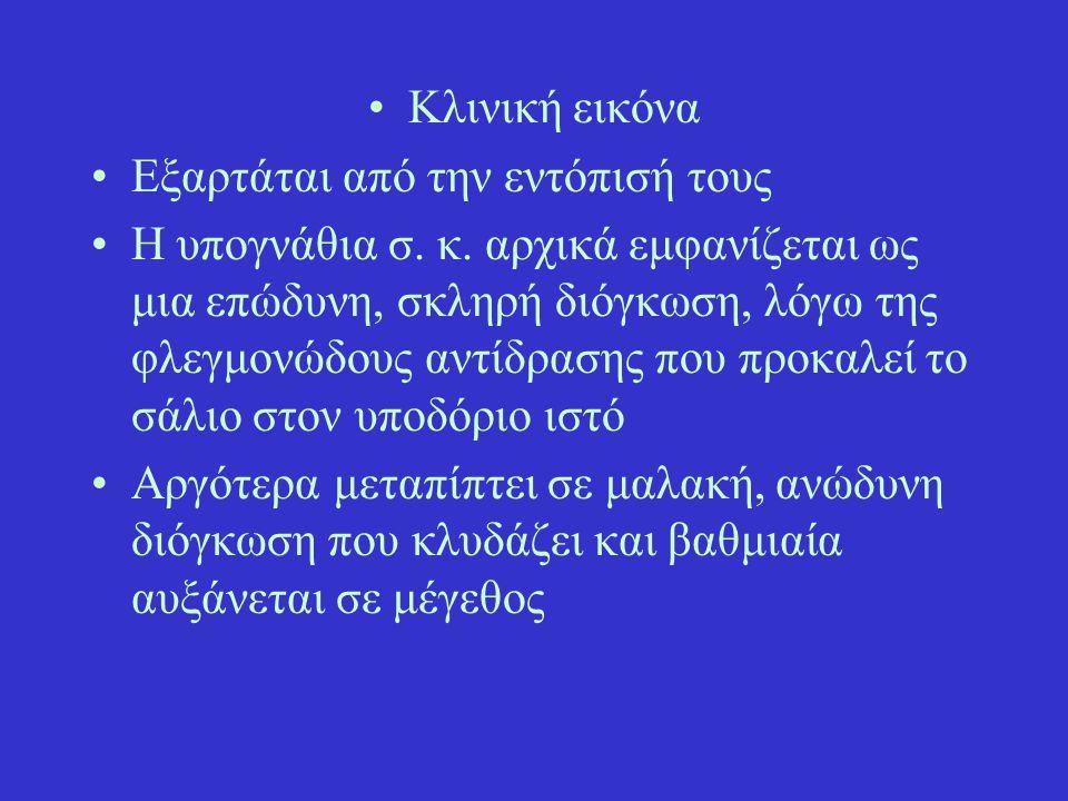 Ανατομική υπόμνηση Παρωτίδα: εκβολή πόρου στους άνω κυνόδοντες Υπογνάθιος – υπογλώσσιος: στον χαλινό της γλώσσας Ζυγωματικός: στον τελευταίο άνω γομφίο