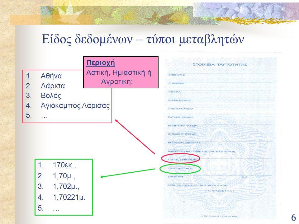 66 Είδος δεδομένων – τύποι μεταβλητών 1.Αθήνα 2.Λάρισα 3.Βόλος 4.Αγιόκαμπος Λάρισας 5.… 1.170εκ., 2.1,70μ., 3.1,702μ., 4.1,70221μ. 5.… Περιοχή Αστική,