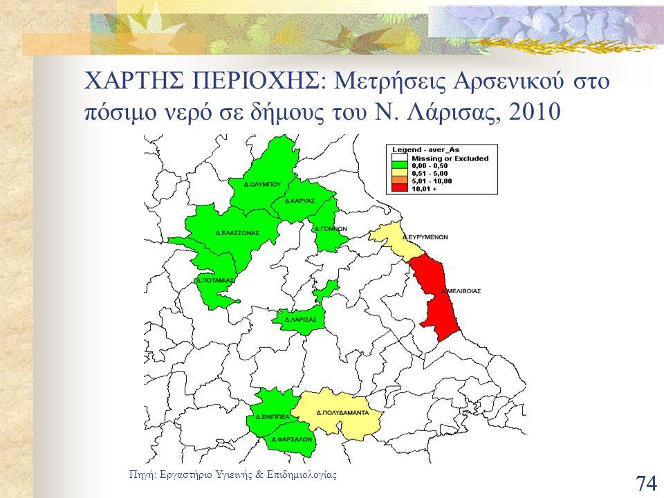 74 ΧΑΡΤΗΣ ΠΕΡΙΟΧΗΣ: Μετρήσεις Αρσενικού στο πόσιμο νερό σε δήμους του Ν. Λάρισας, 2010 Πηγή: Εργαστήριο Υγιεινής & Επιδημιολογίας