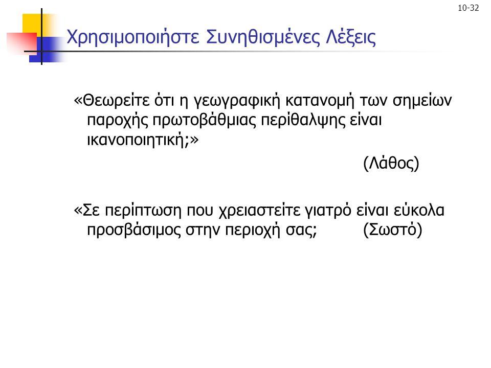 10-32 Χρησιμοποιήστε Συνηθισμένες Λέξεις «Θεωρείτε ότι η γεωγραφική κατανομή των σημείων παροχής πρωτοβάθμιας περίθαλψης είναι ικανοποιητική;» (Λάθος)