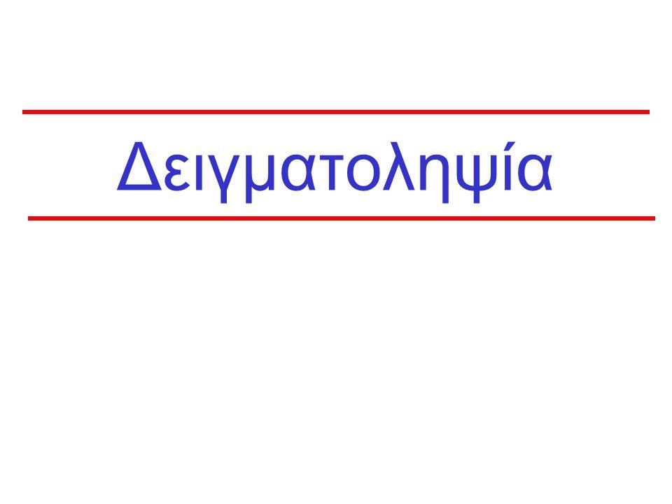 61 Ακρίβεια δειγματοληψίας Μέγεθος Δείγματος n=100n=1000n=10000 Θετικά%95% CIΘετικά%95% CIΘετικά%95% CI 55,01,6-11,3505,03,7-6,55005,04,6-5,4 2525,016,9-34,725025,022,3-27,8250025,024,2-25,9 5050,039,8-60,250050,046,9-53,1500050,049,0-51,0 9595,088,7-98,495095,093,5-96,3950095,094,6-95,4