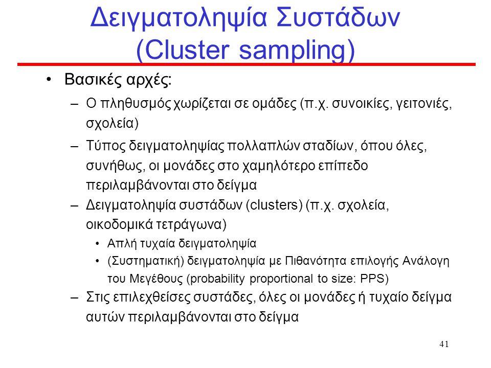 40 Παράδειγμα Δειγματοληψίας πολλαπλού επιπέδου Υπολογισμός εμβολιαστικής κάλυψης παιδιών 7 ετών στην Ελλάδα Μονάδα δειγματοληψίας: τμήμα Α΄ τάξης δημ
