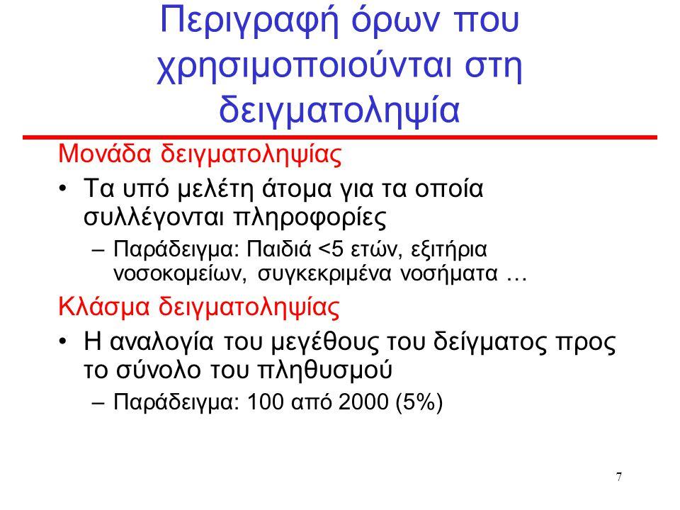 7 Περιγραφή όρων που χρησιμοποιούνται στη δειγματοληψία Μονάδα δειγματοληψίας Τα υπό μελέτη άτομα για τα οποία συλλέγονται πληροφορίες –Παράδειγμα: Παιδιά <5 ετών, εξιτήρια νοσοκομείων, συγκεκριμένα νοσήματα … Κλάσμα δειγματοληψίας Η αναλογία του μεγέθους του δείγματος προς το σύνολο του πληθυσμού –Παράδειγμα: 100 από 2000 (5%)
