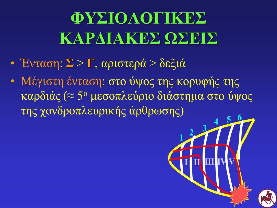 ΦΥΣΙΟΛΟΓΙΚΕΣ ΚΑΡΔΙΑΚΕΣ ΩΣΕΙΣ ΣΓΈνταση: Σ > Γ, αριστερά > δεξιά Μέγιστη ένταση: στο ύψος της κορυφής της καρδιάς (≈ 5 ο μεσοπλεύριο διάστημα στο ύψος της χονδροπλευρικής άρθρωσης) 1 2 3 4 5 6 ΙΙΙ ΙΙΙΙVΙVV
