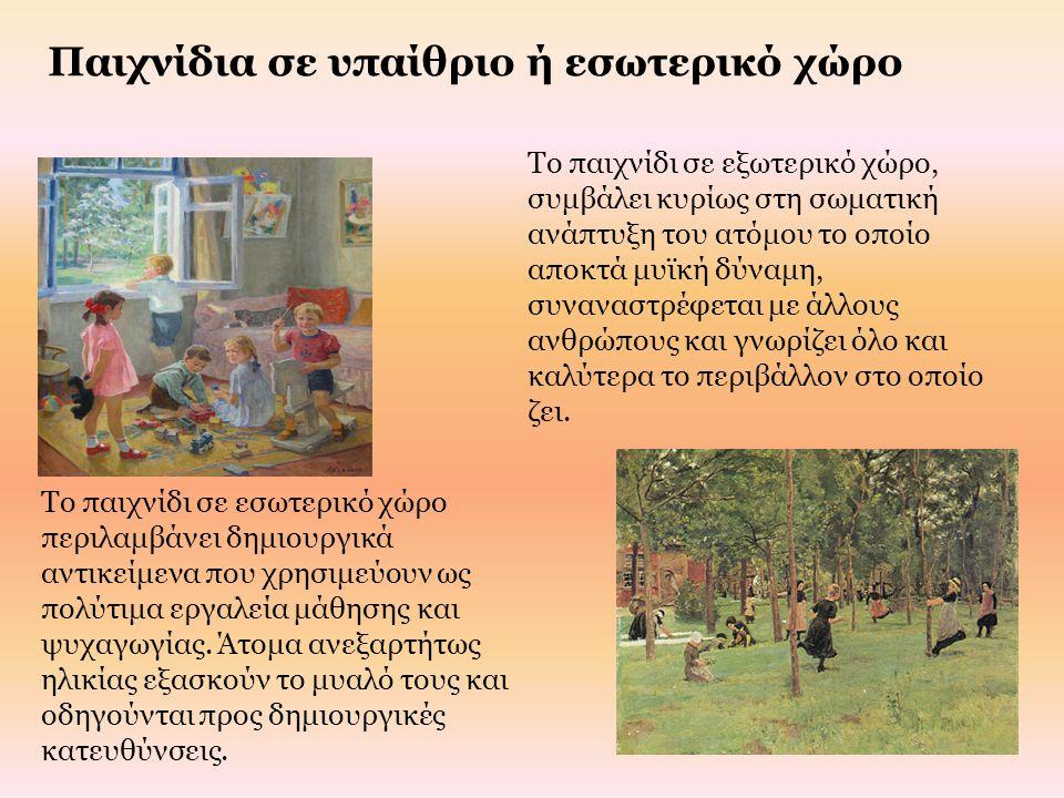 Παιχνίδια σε υπαίθριο ή εσωτερικό χώρο Το παιχνίδι σε εσωτερικό χώρο περιλαμβάνει δημιουργικά αντικείμενα που χρησιμεύουν ως πολύτιμα εργαλεία μάθησης