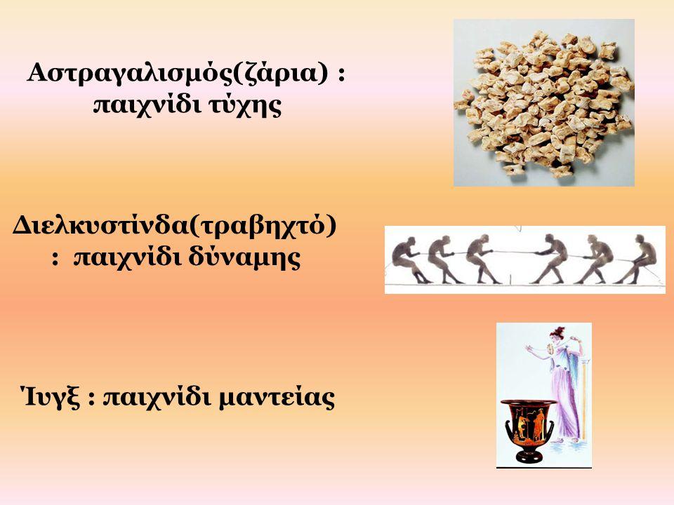 Αστραγαλισμός(ζάρια) : παιχνίδι τύχης Διελκυστίνδα(τραβηχτό) : παιχνίδι δύναμης Ίυγξ : παιχνίδι μαντείας