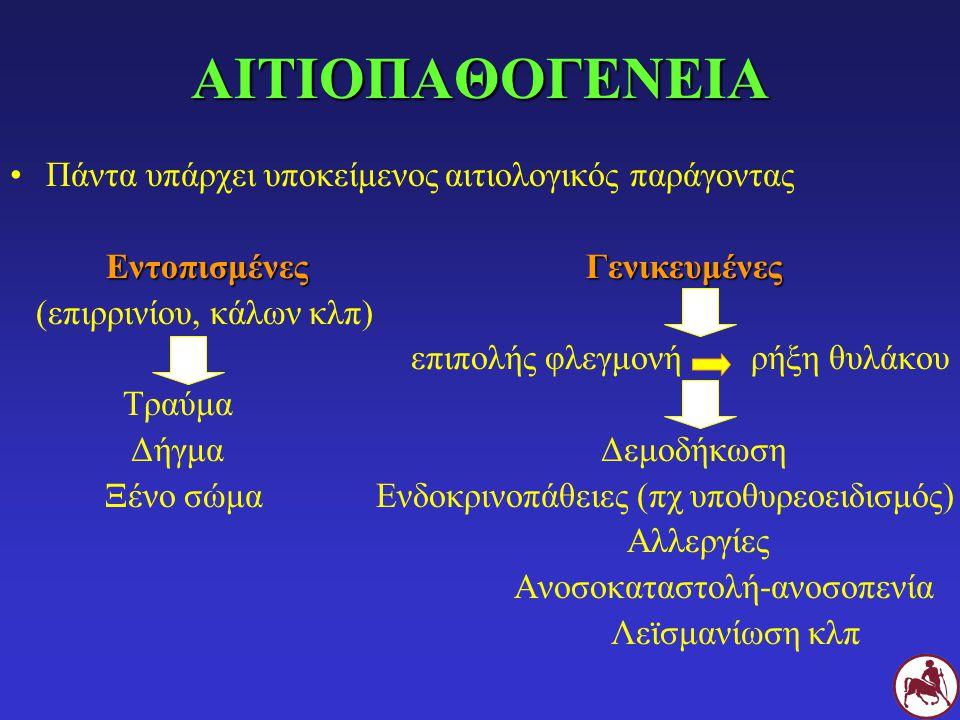 ΑΙΤΙΟΠΑΘΟΓΕΝΕΙΑ Πάντα υπάρχει υποκείμενος αιτιολογικός παράγοντας Εντοπισμένες Γενικευμένες (επιρρινίου, κάλων κλπ) επιπολής φλεγμονή ρήξη θυλάκου Τραύμα Δήγμα Δεμοδήκωση Ξένο σώμα Ενδοκρινοπάθειες (πχ υποθυρεοειδισμός) Αλλεργίες Ανοσοκαταστολή-ανοσοπενία Λεϊσμανίωση κλπ