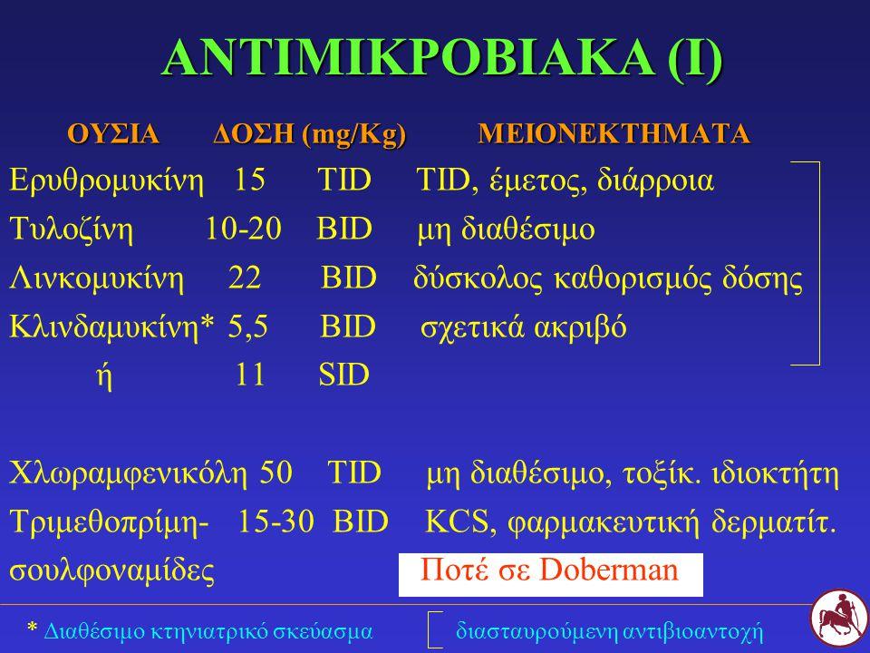 ΑΝΤΙΜΙΚΡΟΒΙΑΚΑ (I) ΟΥΣΙΑ ΔΟΣΗ (mg/Kg) ΜΕΙΟΝΕΚΤΗΜΑΤΑ ΟΥΣΙΑ ΔΟΣΗ (mg/Kg) ΜΕΙΟΝΕΚΤΗΜΑΤΑ Ερυθρομυκίνη 15 TID TID, έμετος, διάρροια Τυλοζίνη 10-20 BID μη διαθέσιμο Λινκομυκίνη 22 BID δύσκολος καθορισμός δόσης Κλινδαμυκίνη* 5,5 BID σχετικά ακριβό ή 11 SID Χλωραμφενικόλη 50 ΤID μη διαθέσιμο, τοξίκ.