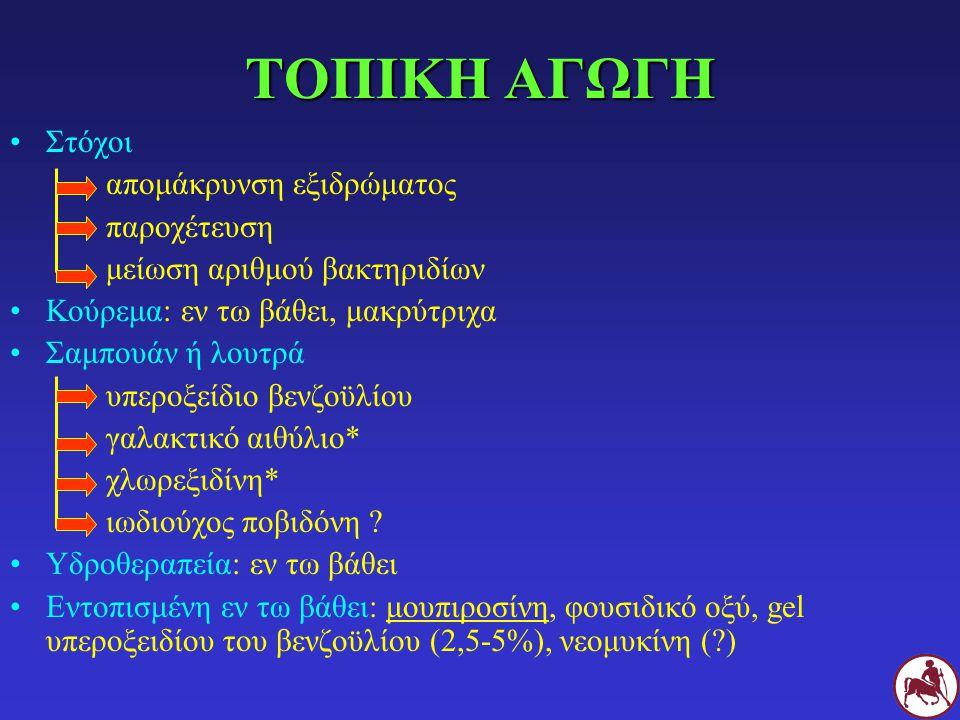 ΤΟΠΙΚΗ ΑΓΩΓΗ Στόχοι απομάκρυνση εξιδρώματος παροχέτευση μείωση αριθμού βακτηριδίων Κούρεμα: εν τω βάθει, μακρύτριχα Σαμπουάν ή λουτρά υπεροξείδιο βενζοϋλίου γαλακτικό αιθύλιο* χλωρεξιδίνη* ιωδιούχος ποβιδόνη .