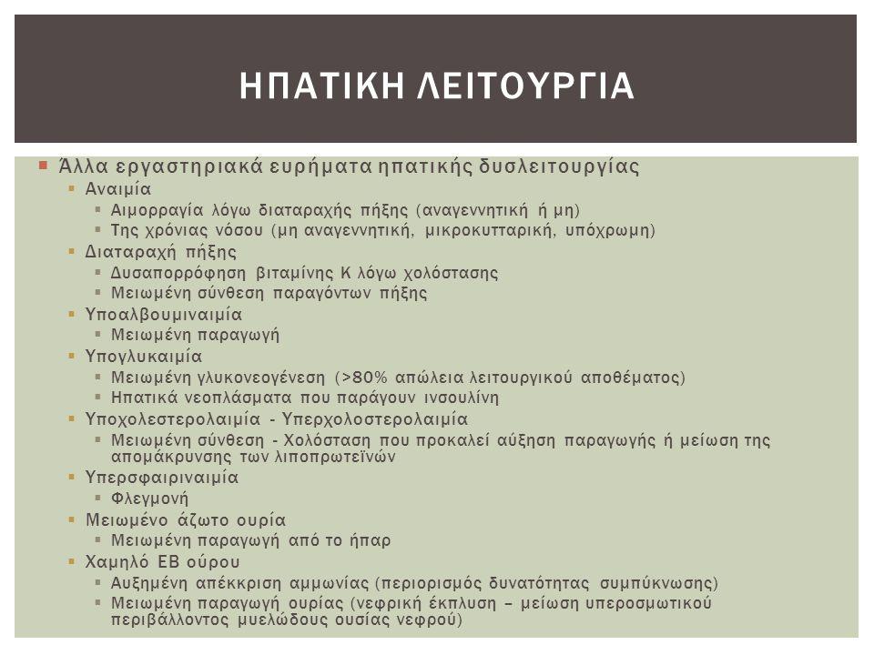  Άλλα εργαστηριακά ευρήματα ηπατικής δυσλειτουργίας  Αναιμία  Αιμορραγία λόγω διαταραχής πήξης (αναγεννητική ή μη)  Της χρόνιας νόσου (μη αναγεννη