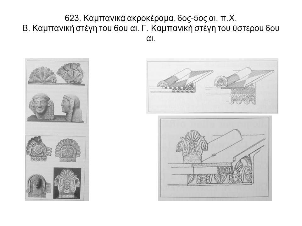 623. Καμπανικά ακροκέραμα, 6ος-5ος αι. π.Χ. Β. Καμπανική στέγη του 6ου αι.
