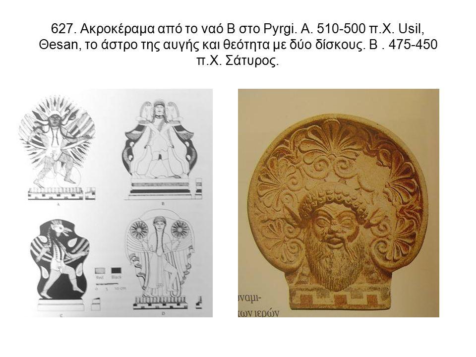 627. Ακροκέραμα από το ναό Β στο Pyrgi. A. 510-500 π.Χ.