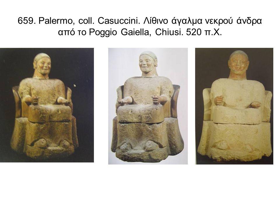 659. Palermo, coll. Casuccini. Λίθινο άγαλμα νεκρού άνδρα από τo Poggio Gaiella, Chiusi. 520 π.Χ.