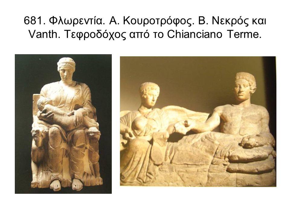 681. Φλωρεντία. Α. Κουροτρόφος. Β. Νεκρός και Vanth. Τεφροδόχος από το Chianciano Terme.