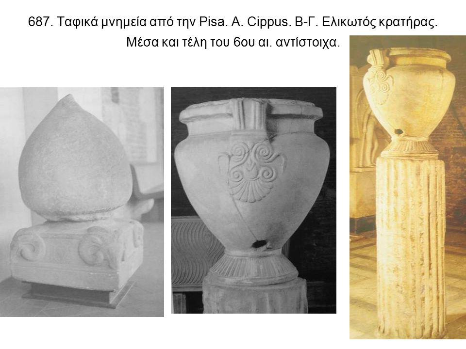 687. Ταφικά μνημεία από την Pisa. Α. Cippus. Β-Γ.