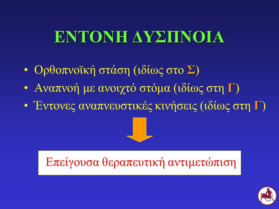 ΕΝΤΟΝΗ ΔΥΣΠΝΟΙΑ ΣΟρθοπνοϊκή στάση (ιδίως στο Σ) ΓΑναπνοή με ανοιχτό στόμα (ιδίως στη Γ) ΓΈντονες αναπνευστικές κινήσεις (ιδίως στη Γ) Επείγουσα θεραπευτική αντιμετώπιση