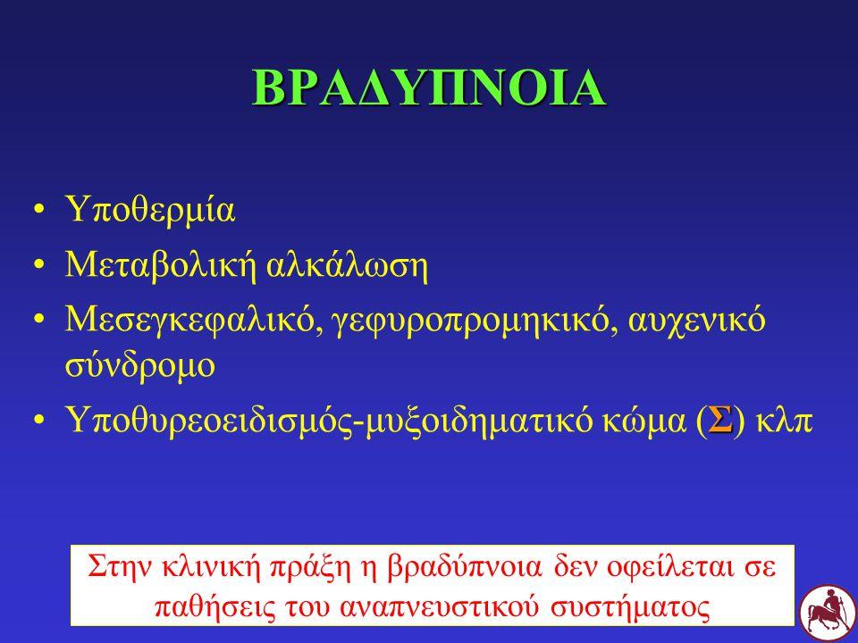 ΒΡΑΔΥΠΝΟΙΑ Υποθερμία Μεταβολική αλκάλωση Μεσεγκεφαλικό, γεφυροπρομηκικό, αυχενικό σύνδρομο ΣΥποθυρεοειδισμός-μυξοιδηματικό κώμα (Σ) κλπ Στην κλινική πράξη η βραδύπνοια δεν οφείλεται σε παθήσεις του αναπνευστικού συστήματος