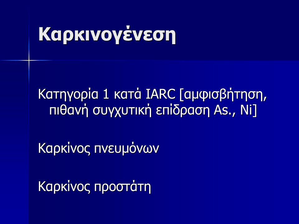 Καρκινογένεση Κατηγορία 1 κατά IARC [αμφισβήτηση, πιθανή συγχυτική επίδραση As., Ni] Καρκίνος πνευμόνων Καρκίνος προστάτη