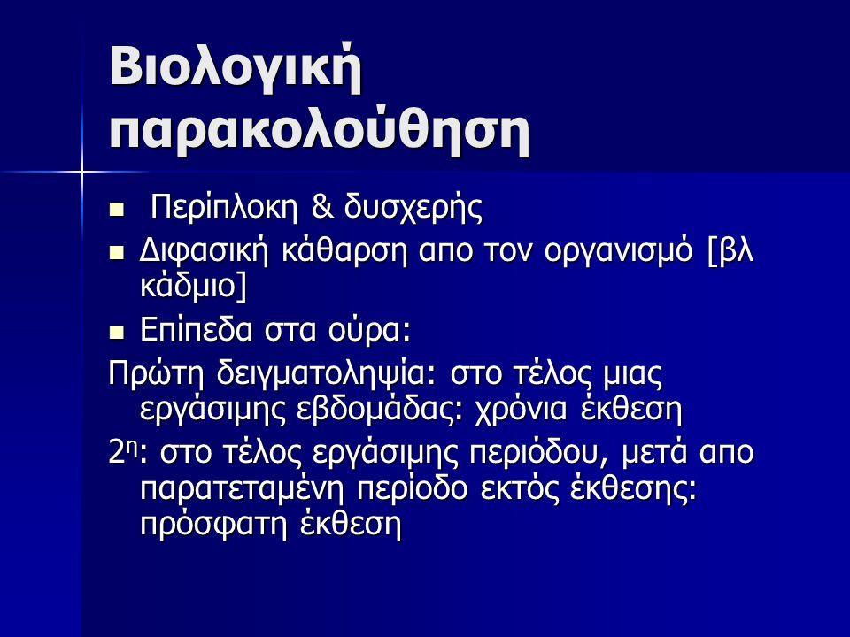 Bιολογική παρακολούθηση Περίπλοκη & δυσχερής Περίπλοκη & δυσχερής Διφασική κάθαρση απο τον οργανισμό [βλ κάδμιο] Διφασική κάθαρση απο τον οργανισμό [βλ κάδμιο] Επίπεδα στα ούρα: Επίπεδα στα ούρα: Πρώτη δειγματοληψία: στο τέλος μιας εργάσιμης εβδομάδας: χρόνια έκθεση 2 η : στο τέλος εργάσιμης περιόδου, μετά απο παρατεταμένη περίοδο εκτός έκθεσης: πρόσφατη έκθεση