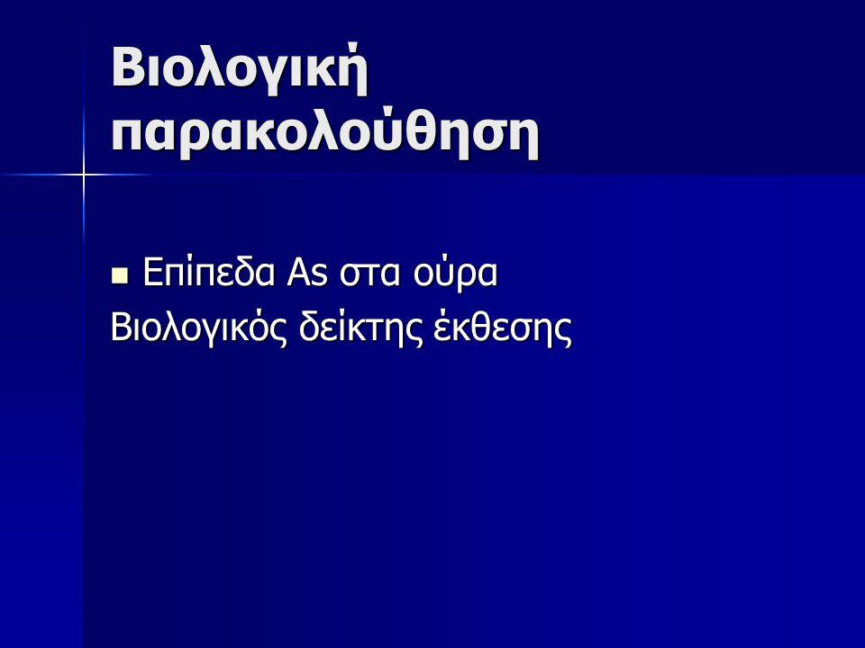 Παθολογία Περιφερική νευρίτιδα κάτω άκρων Περιφερική νευρίτιδα κάτω άκρων Επίδραση στο ανοσοποιητικό Επίδραση στο ανοσοποιητικό Καρκίνος δέρματος Καρκίνος δέρματος Καρκίνος Πνεύμονα Καρκίνος Πνεύμονα Αγγειοσάρκωμα ήπατος Αγγειοσάρκωμα ήπατος Καρκίνος ουροδόχου κύστεως Καρκίνος ουροδόχου κύστεως Νεφρική βλάβη Νεφρική βλάβη Κατηγορία 1 κατά IARC