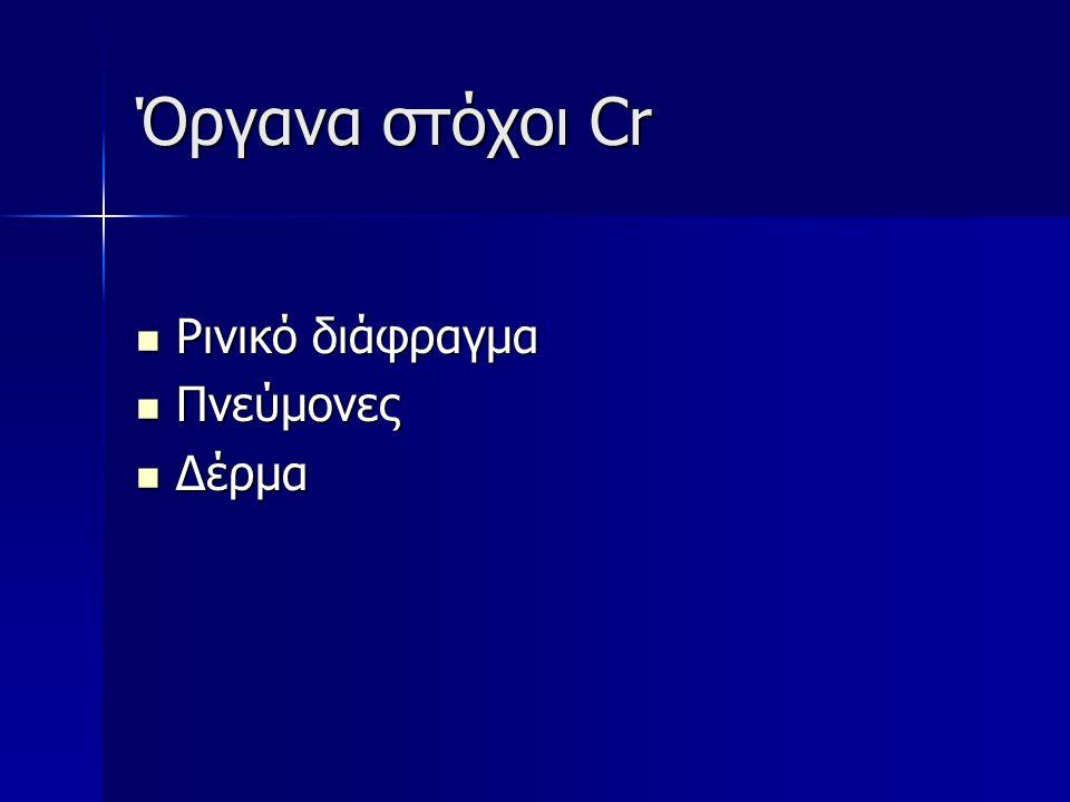Παθολογία Cr Διάτρηση ρινικού διαφράγματος Διάτρηση ρινικού διαφράγματος Αλλεργική δερματίτιδα εξ επαφής – οφείλεται στο Cr +6 Αλλεργική δερματίτιδα εξ επαφής – οφείλεται στο Cr +6 Καρκίνος πνεύμονα – οφείλεται στο Cr +6 Καρκίνος πνεύμονα – οφείλεται στο Cr +6 Κατηγορία 1 κατά IARC