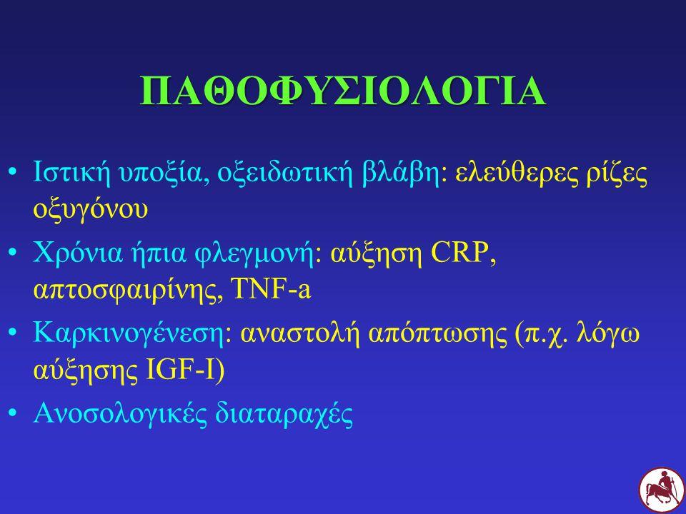 ΠΑΘΟΦΥΣΙΟΛΟΓΙΑ Ιστική υποξία, οξειδωτική βλάβη: ελεύθερες ρίζες οξυγόνου Χρόνια ήπια φλεγμονή: αύξηση CRP, απτοσφαιρίνης, TNF-a Καρκινογένεση: αναστολ