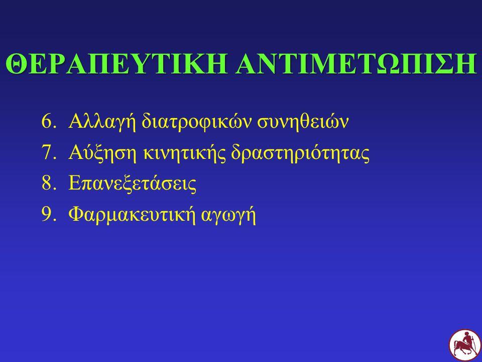 ΘΕΡΑΠΕΥΤΙΚΗ ΑΝΤΙΜΕΤΩΠΙΣΗ 6.Αλλαγή διατροφικών συνηθειών 7.Αύξηση κινητικής δραστηριότητας 8.Επανεξετάσεις 9.Φαρμακευτική αγωγή