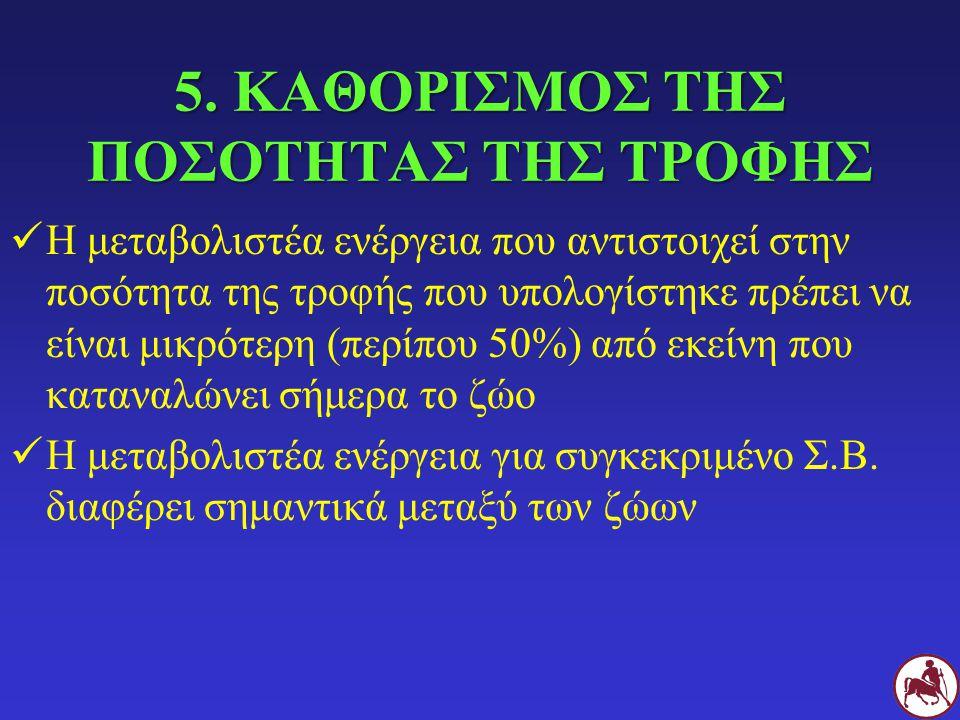 5. ΚΑΘΟΡΙΣΜΟΣ ΤΗΣ ΠΟΣΟΤΗΤΑΣ ΤΗΣ ΤΡΟΦΗΣ Η μεταβολιστέα ενέργεια που αντιστοιχεί στην ποσότητα της τροφής που υπολογίστηκε πρέπει να είναι μικρότερη (πε