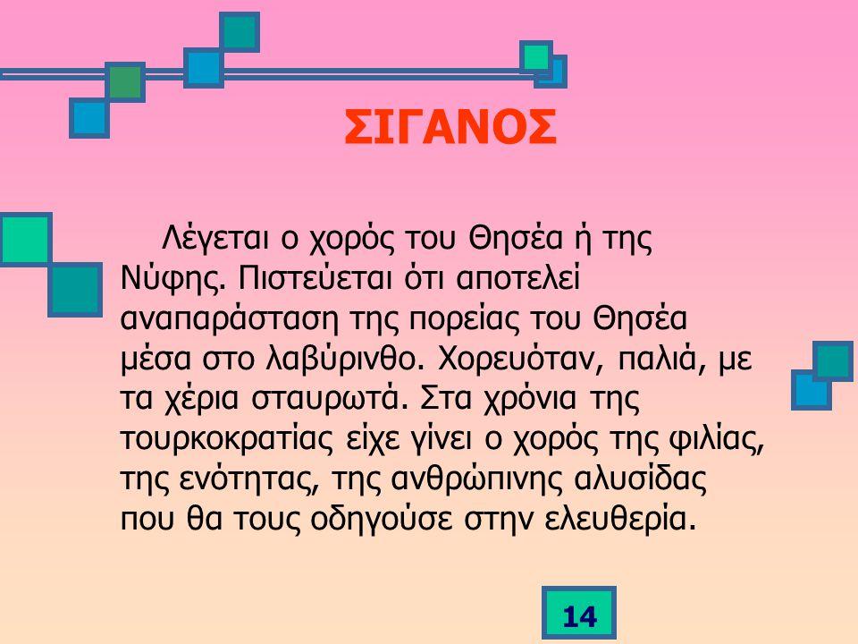 14 ΣΙΓΑΝΟΣ Λέγεται ο χορός του Θησέα ή της Νύφης.