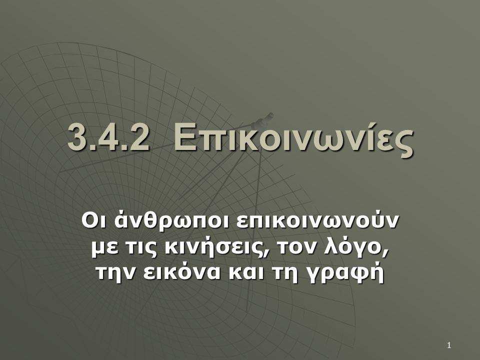 1 3.4.2 Επικοινωνίες Οι άνθρωποι επικοινωνούν με τις κινήσεις, τον λόγο, την εικόνα και τη γραφή