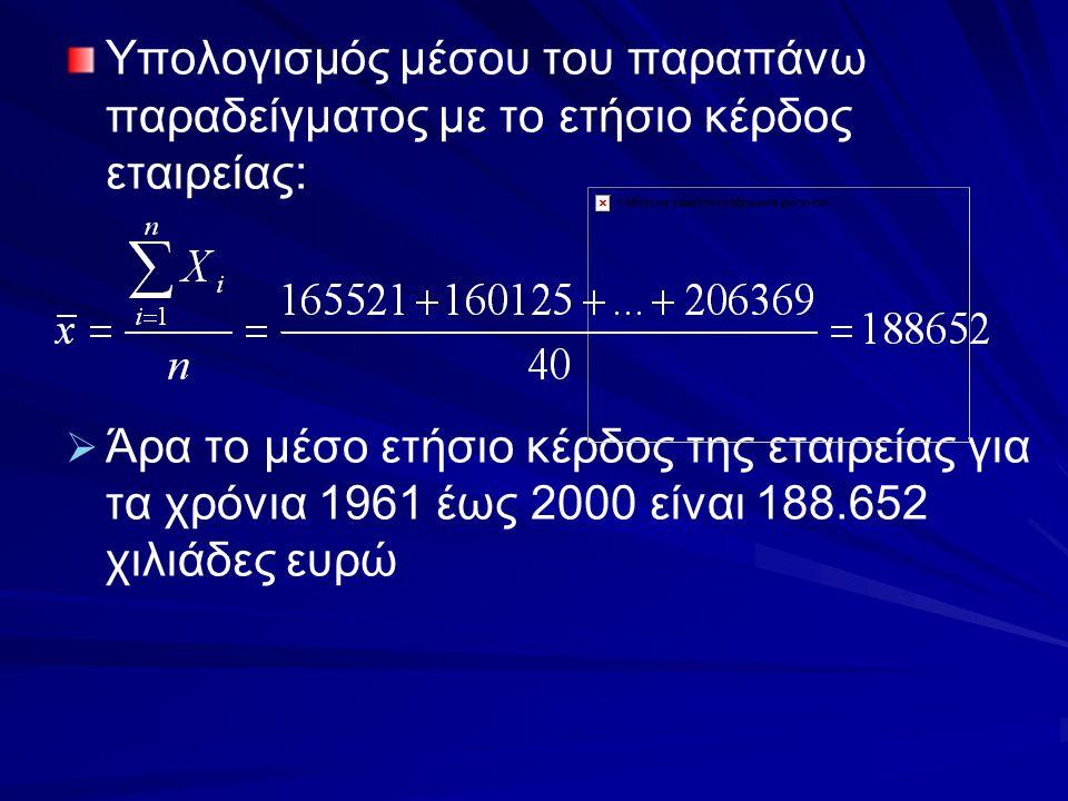 Υπολογισμός μέσου του παραπάνω παραδείγματος με το ετήσιο κέρδος εταιρείας:   Άρα το μέσο ετήσιο κέρδος της εταιρείας για τα χρόνια 1961 έως 2000 εί