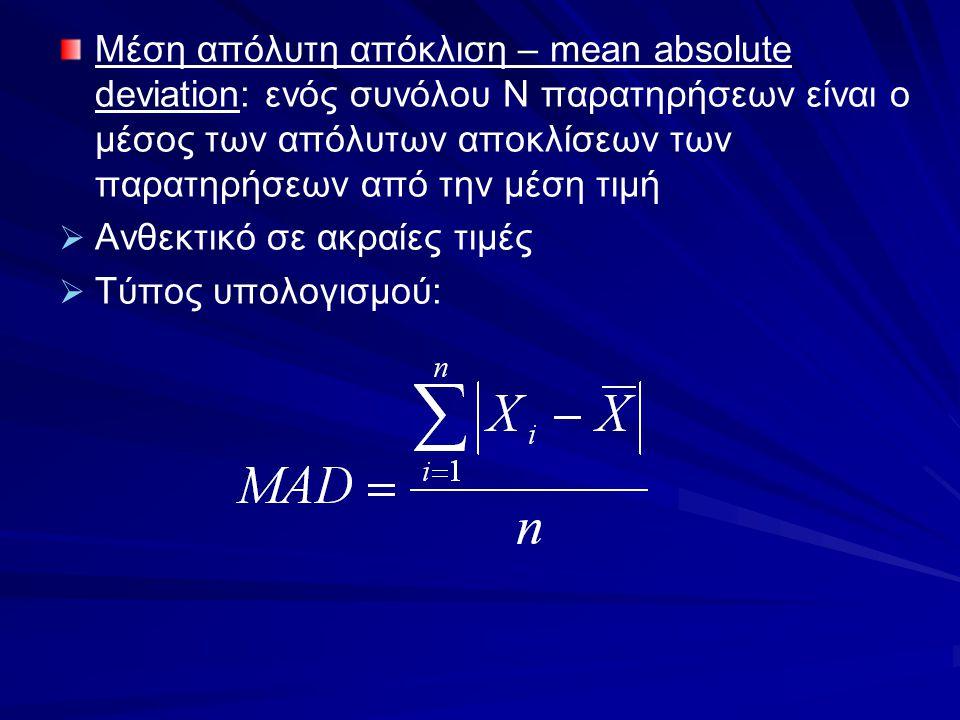 Μέση απόλυτη απόκλιση – mean absolute deviation: ενός συνόλου N παρατηρήσεων είναι ο μέσος των απόλυτων αποκλίσεων των παρατηρήσεων από την μέση τιμή