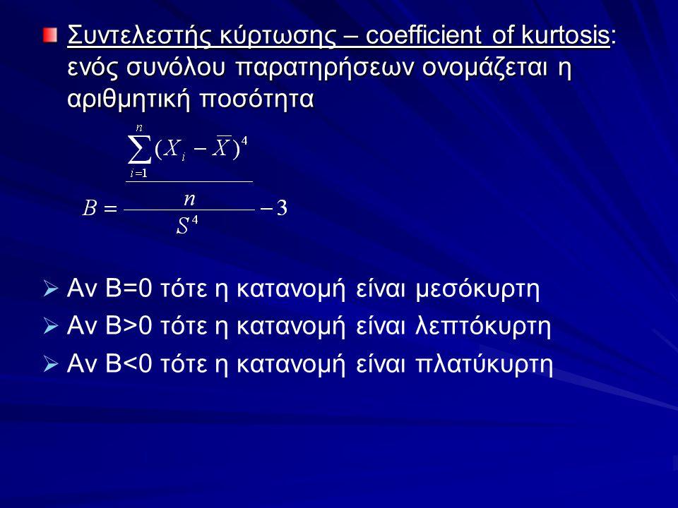 Συντελεστής κύρτωσης – coefficient of kurtosis: ενός συνόλου παρατηρήσεων ονομάζεται η αριθμητική ποσότητα   Αν Β=0 τότε η κατανομή είναι μεσόκυρτη