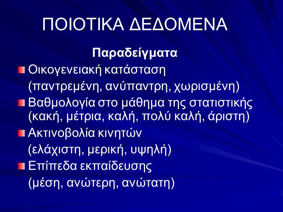 ΠΟΣΟΤΙΚΑ ΔΕΔΟΜΕΝΑ Παραδείγματα Μέτρηση του ύψους των ανθρώπων Μέτρηση του βάρους των ανθρώπων Μέτρηση του εισοδήματος κάθε οικογένειας Αριθμός γεννήσεων σε κάθε νομό της Ελλάδος Συνολικά κέρδη εταιρειών από το χρηματιστήριο