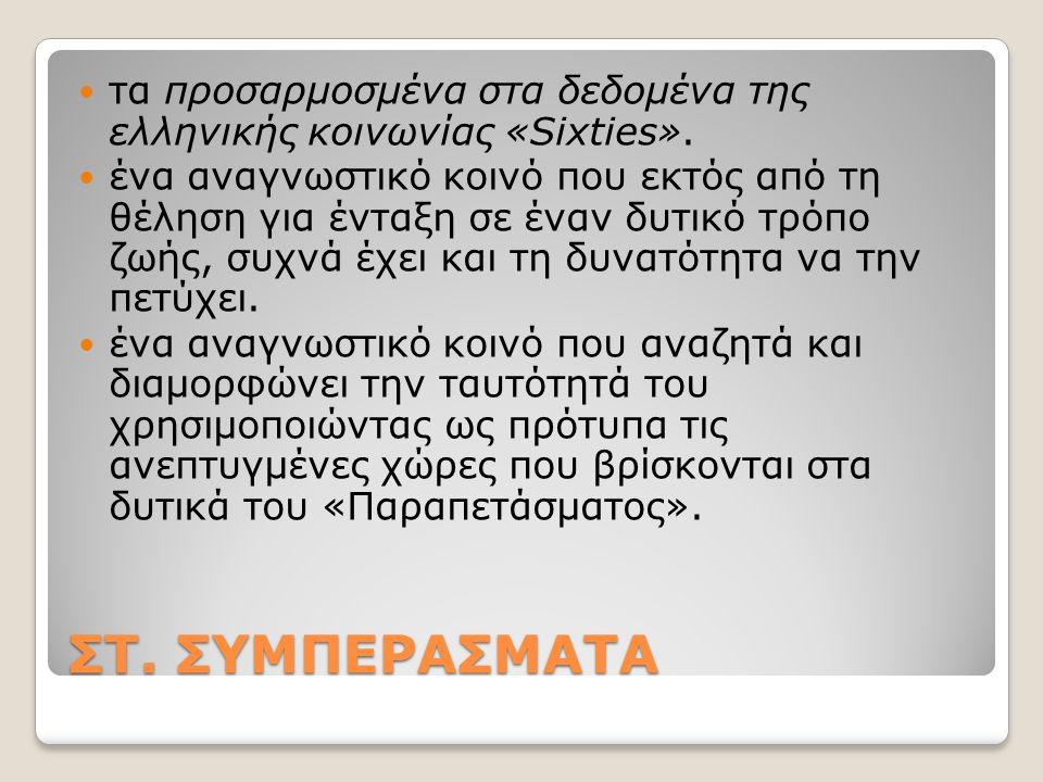 ΣΤ. ΣΥΜΠΕΡΑΣΜΑΤΑ τα προσαρμοσμένα στα δεδομένα της ελληνικής κοινωνίας «Sixties».
