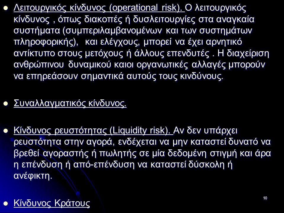 Λειτουργικός κίνδυνος (operational risk). Ο λειτουργικός κίνδυνος, όπως διακοπές ή δυσλειτουργίες στα αναγκαία συστήματα (συμπεριλαμβανομένων και των