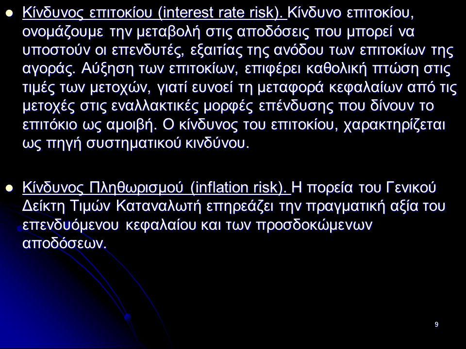 Κίνδυνος επιτοκίου (interest rate risk). Κίνδυνο επιτοκίου, ονομάζουμε την μεταβολή στις αποδόσεις που μπορεί να υποστούν οι επενδυτές, εξαιτίας της α
