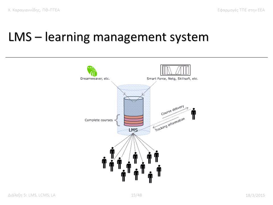 Χ. Καραγιαννίδης, ΠΘ-ΠΤΕΑΕφαρμογές ΤΠΕ στην ΕΕΑ Διάλεξη 5: LMS, LCMS, LA15/48 18/3/2015 LMS – learning management system