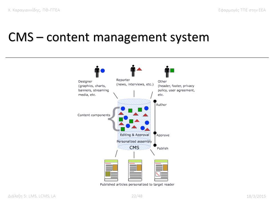 Χ. Καραγιαννίδης, ΠΘ-ΠΤΕΑΕφαρμογές ΤΠΕ στην ΕΕΑ Διάλεξη 5: LMS, LCMS, LA22/48 18/3/2015 CMS – content management system
