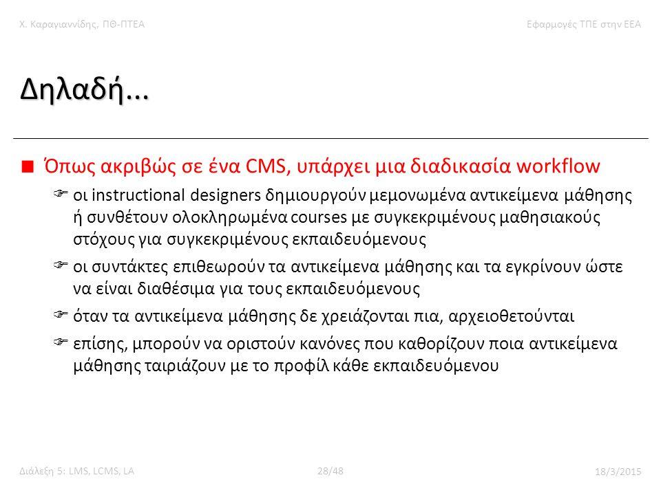 Χ. Καραγιαννίδης, ΠΘ-ΠΤΕΑΕφαρμογές ΤΠΕ στην ΕΕΑ Διάλεξη 5: LMS, LCMS, LA28/48 18/3/2015 Δηλαδή...